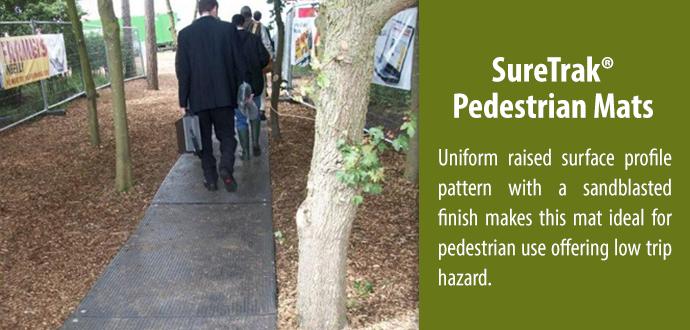 suretrak pedestrian composite mat - uniform raised surface profile pattern with a sandblasted finish. Ideal for pedestrian use.